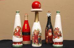Decoración para Navidad - botellas decorativas