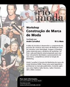 Próximos Workshops do Instituto Rio Moda