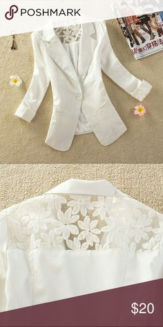 White blazer jacket with lace Material is light weight, faux pockets. Brand new never been worn. Lace on the cuffs and on the upper back. One front button. Jackets & Coats Blazers