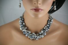 Chunky pearl necklace in gray glass pearls and by bazinedezine, $30.00