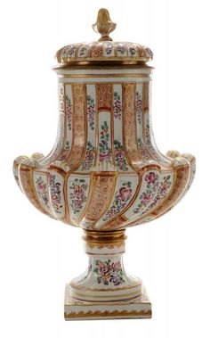 Samson Porcelain Covered Urn - Description: late 19th century, of molded gadrooned form with white glazed ground painted with panels of roses and flowers alternating with gilded cell-diaper panels, gold-spear borders on plinth and foot, gilded metal mounts separate foot from body and neck from cover, not signed, 13-1/2 in. mount holding cover is loose, finial repaired at joint with cover, short cracks where foot joins body at metal mount.