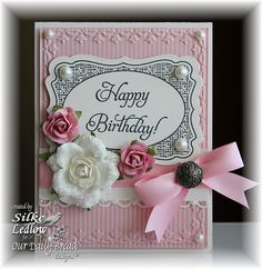 Pink White and Black Birthday card