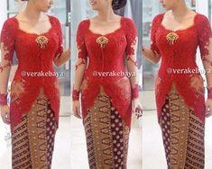 Ideas for sewing skirts women maxi dresses Vera Kebaya, Kebaya Lace, Kebaya Hijab, Batik Kebaya, Kebaya Dress, Batik Dress, Kebaya Kutu Baru Modern, Modern Kebaya, Model Rok Kebaya