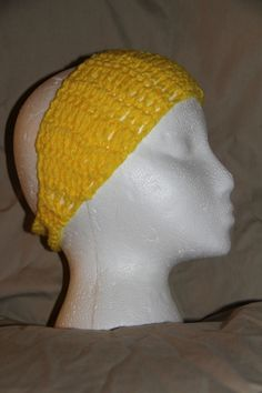 Crochet Unisex Teen/Adult headband earwarmer - fits most adult - Bright Yellow #homemade #earwamerheadband