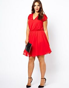 Beautiful #plussize #curvy Skater Dress With Lace V Back