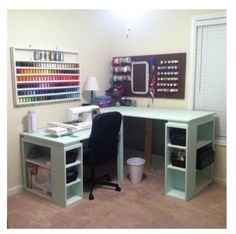 The L Shaped Mint Green Sewing And Cutting Corner Table Idea