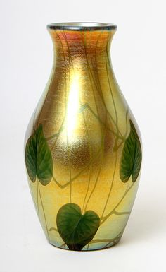 Wonderful Tiffany Favrile vase with wheel-carved leaves, just in