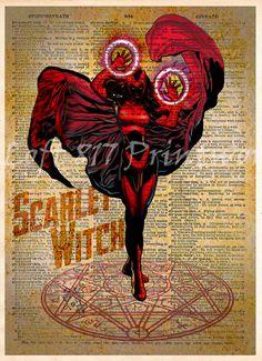 Scarlet Witch, Avengers pop art, Retro Super Hero Art, Dictionary print art