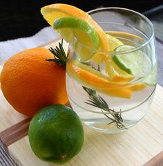 Rosemary, Lime, Orange Fruit Infused Water.