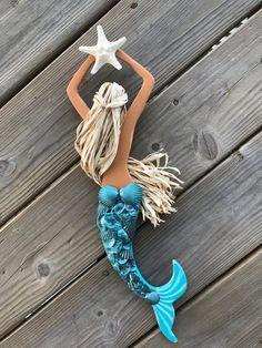 Seashell Art, Seashell Crafts, Beach Crafts, Mermaid Crafts, Mermaid Art, Mermaid Wall Decor, Room Wall Decor, Fall Home Decor, Beach House Decor