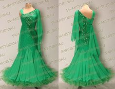0b9917a4309fe Details about A BRAND NEW READY TO WEAR EMERALD GEORGETTE BALLROOM DRESS  SIZE US 4 WB3217