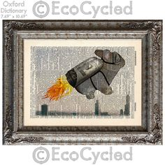 New to EcoCycled on Etsy: Bunny with a Jetpack on Vintage Upcycled Dictionary Art Print Book Art Print Recycled Amazing Animalia (10.00 USD)