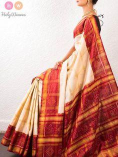 #Cream #Red #Handwoven #Katan #Silk #Gharchola #Saree #HolyWeaves
