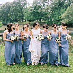 Arm-in-arm in Slate chiffon dresses! Amsale Bridesmaid, Bridesmaid Dresses, Wedding Dresses, Bridesmaids, Blue Wedding, Wedding Colors, Wedding Styles, Wedding Ideas, Real Weddings