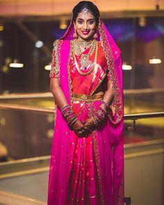 Bridal Sarees South Indian, Indian Bridal Fashion, Indian Fashion Dresses, South Indian Bride, Indian Wedding Outfits, Bridal Dupatta, Wedding Saree Blouse, Bridal Silk Saree, Pattu Saree Blouse Designs