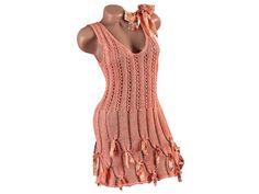 Crochet d'été robe en coton léger tricot robe xs par CleopatraArt