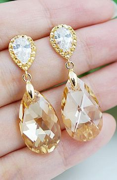 Golden Shadow Swarovski Crystal Bridal Earrings from EarringsNation