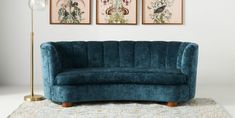 Julia Sofa   Anthropologie Upholstered Furniture, Custom Furniture, Blue Velvet Couch, Hanging Furniture, Cottage Living Rooms, Hearth And Home, Sofa Tables, Seat Cushions, Room Inspiration