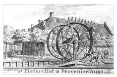De overhaal bij het Dal te Hoorn. Op de achtergrond het St. Pietershof. Tekening van Cornelis Pronk, 1727.
