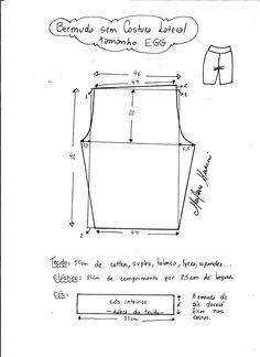 Esquema de modelagem de bermuda em malha sem costura lateral tamanho EGG.