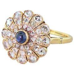 Edwardian Cabochon Sapphire & Rose Cut Diamond Cluster Ring