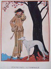 Woman with a greyhound, Art Deco, by Barbier. Arte Art Deco, Moda Art Deco, Estilo Art Deco, Art Deco Print, Art Prints, Art And Illustration, Greyhound Kunst, Art Nouveau, Art Deco Stil