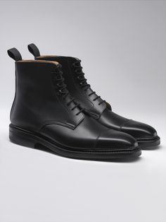 Northcote, a higher leg lace-up derby boot with a straight toe cap. Made from the finest waxed calf leather and Dainite rubber soles. As featured in the 24th James Bond film SPECTRE.