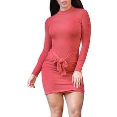 Womens Sexy Pleated Tie Front Night Club Bodycon Mini Dress Red ($13) ❤ liked on Polyvore featuring red