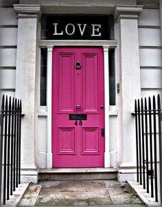 .pink front door