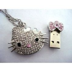 Hello Kitty Crystal Necklace 8GB USB Flash Drive - so silly, but I love it so much!