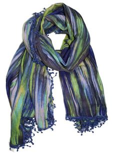 Blue Brush Abstract Print Scarf