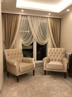 Berjer, Fund curtain, cream, double-breasted curtain, lounge - Home And Garden Living Room Decor Curtains, Decor Home Living Room, Home Curtains, Bedroom Decor, Home Decor, Curtain Designs, Curtain Styles, Sofa Design, Interior Design
