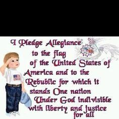 .....Saying the Pledge of Allegiance at the start of the school day.