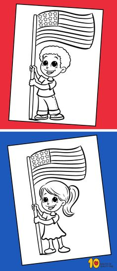 4th of July Coloring Pages – Kids Holding Flag  #4thofjulyprintables#4thofJuly