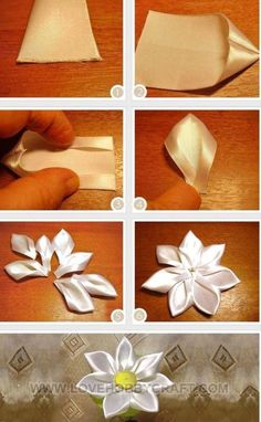 How to make a flower out of ribbon. Just bought a lot of satin ribbon from Miss Ivy Original on Etsy. Need to find many ribbon flower projects How to make a flower out of ribbon. Finally something I can do with all that red ribbon I have. Diy Ribbon Flowers, Ribbon Flower Tutorial, Cloth Flowers, Kanzashi Flowers, Ribbon Art, Ribbon Crafts, Fabric Ribbon, Flower Crafts, Fabric Flowers