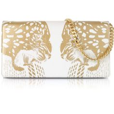 Roberto Cavalli Juno Small Tiger Printed Leather Clutch (£945) ❤ liked on Polyvore featuring bags, handbags, clutches, white, 100 leather handbags, genuine leather purse, chain strap purse, real leather handbags and white leather handbags