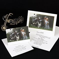 A motorcycle is clearly your ideal mode of transportation! Ride high on your love with this white invitation featuring a young couple and their bike. The colorful photograph is framed by an eye-catching gold foil border. Your names are printed beneath your wording on the inside and appear below the front edge.
