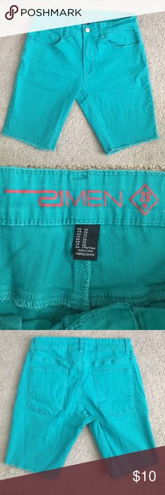 Men's Teal Cut Off Shorts Great condition!  🎉 20% off bundles! 🎉 MAKE ME AN OFFER  Other items shown:  Shirt: Listed on my page! Sunglasses: Not for sale. 21men Shorts Jean Shorts