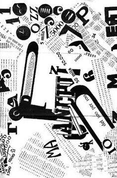'Filippo Tommaso Marinetti, Les Mots En Liberte Futuristes, 1919.' Contrast is a big part of this image between the black and white. This is established through the use of shapes and the use of different letterforms of jumbled letters and numbers