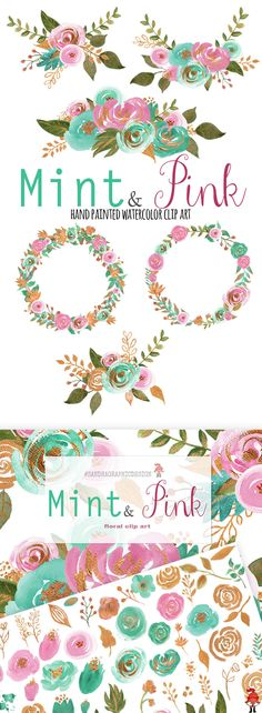 Mint & pink clip art, with gold, hand painted watercolor clip art, floral clip art, flower bouquets, flower frames This is a large and complete set to create beautiful digital flower bouquets for any creative projects, like making wedding invitations, cards, scrapbook projects, etc. Available on Etsy and Creative Market #SandraGraphicDesign