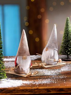 """Decoration figures """"Wichtel"""" Three gnomes in the snow … Here comes a cute skier troop pounding and taking all the decoration h Christmas Time, Xmas, Stunning Eyes, Wood Table, Gnomes, Gingerbread, Christmas Decorations, Merry, Advent"""