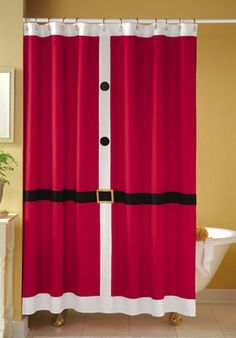 "Santa Suit Shower Curtain. Every year when I break this out (along with the toilet set) my husband says, ""Oh boy."" LOL"