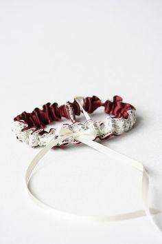 Custom burgundy and silver wedding garter-by The Garter Girl