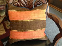 Orange & Brown Striped Kilim Pillow @flea_pop