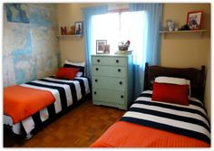 Boys Bedroom With Maps on Walls