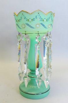 Fine Antique Art Glass Lustre RARE Green Opalene C 1900 Bohemian French | eBay