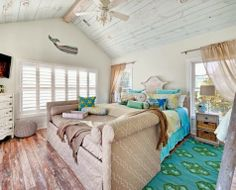 beach bedroom in turquoise and yellow