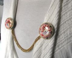 Sweater Guard Pink Orchids Double Chains Cardigan Clip Upcycled Accessories. $15.00, via Etsy.