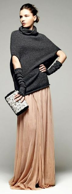 shades of gray, arm warmers and clutch