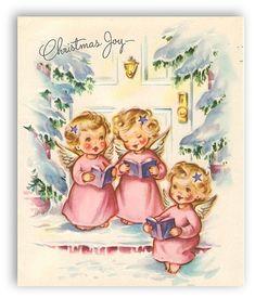 Adorable 1940s Christmas joy. #angels #vintage #Christmas #cards